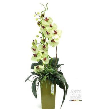 Composizione floreale fiori artificiali in tessuto: Orchidee verdi