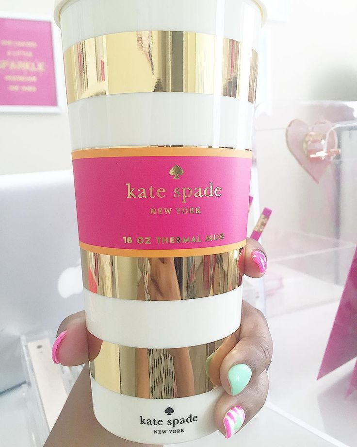gold and white kate spade coffee cup. NEED PLEASE ♡