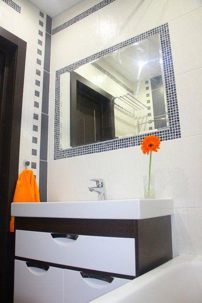 Ванная: серый твид, оранжевые подсолнухи