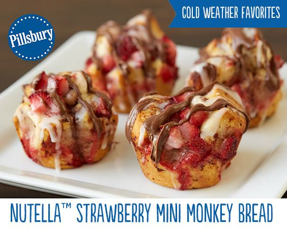 Nutella™ Strawberry Mini Monkey Breads will quickly become a breakfast favorite! Made with  Nutella™, strawberries and cinnamon rolls no one will be able to resist this treat. Perfect for impressing your friends at your next brunch get together!