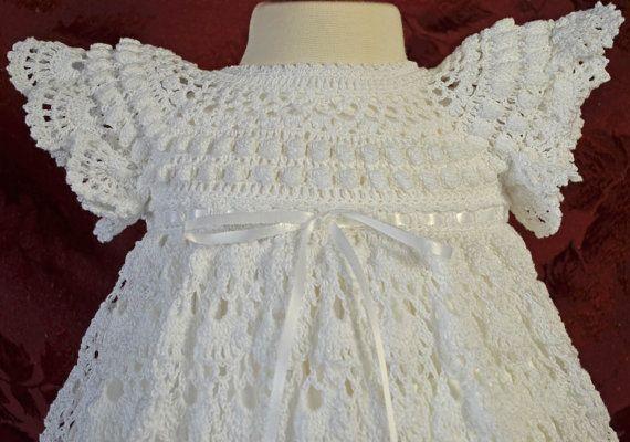 Blanco bautizo / bendición vestido con el Slip  3 a 6 meses