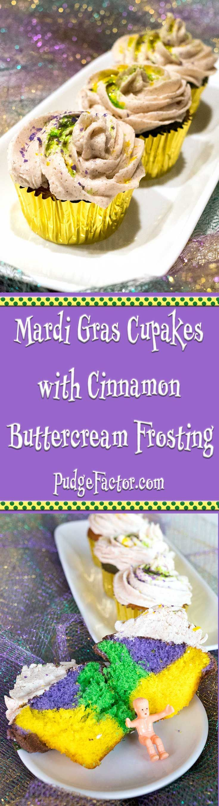 Laissez les bon temps rouler with easy to make Mardi Gras Cupcakes with Cinnamon Buttercream Frosting. Inside is a surprise sure to delight!