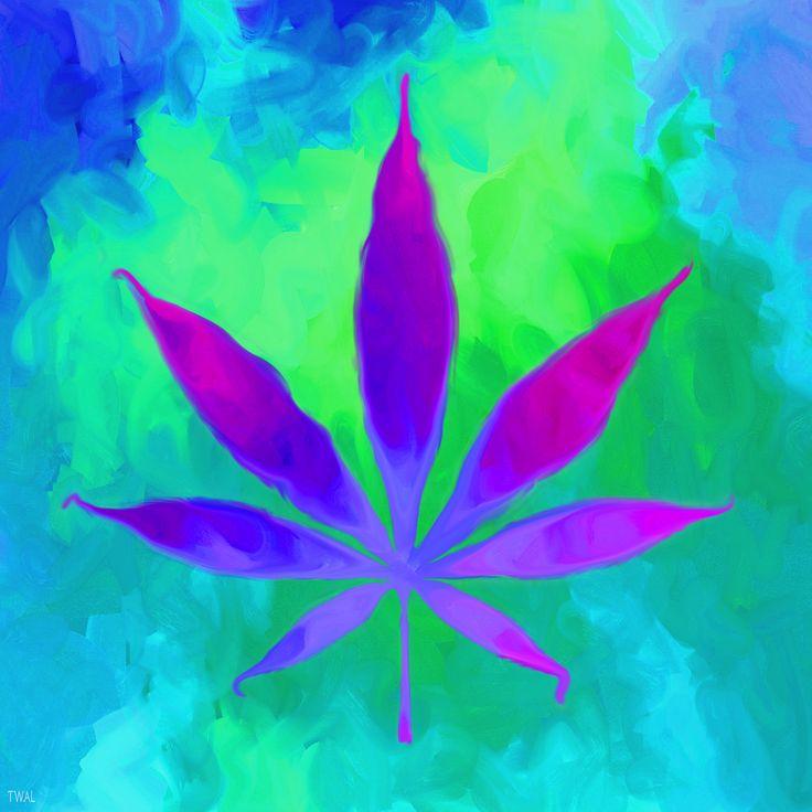 Purple Haze Cannabis Leaf art on canvas at Society6