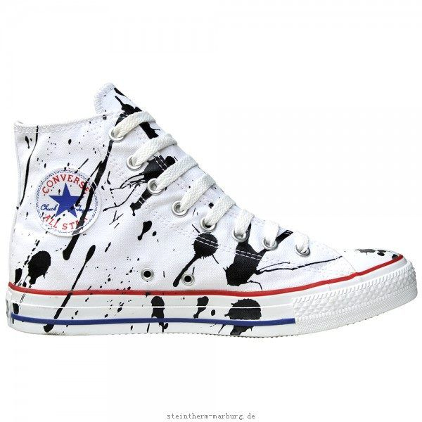 Converse Schuhe Chuck Taylor All Star Chucks 113861 Paint Splash Weiß Schwarz White Black HI