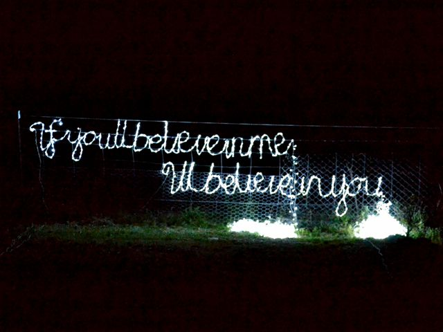 If you'll believe in me, I'll believe in you, 2012  100cm H x 300cm W LED Fairy lights, monofilament & galwire  'Well, now that we have seen each other, 'the Unicorn said to Alice, 'if you'll believe in me, I'll believe in you. [1]  By toying with the conventional concept of time, Lewis Carroll's Through the Looking Glass, and what Alice found there explores preception and consciousness as a transitional space between past, present and future…