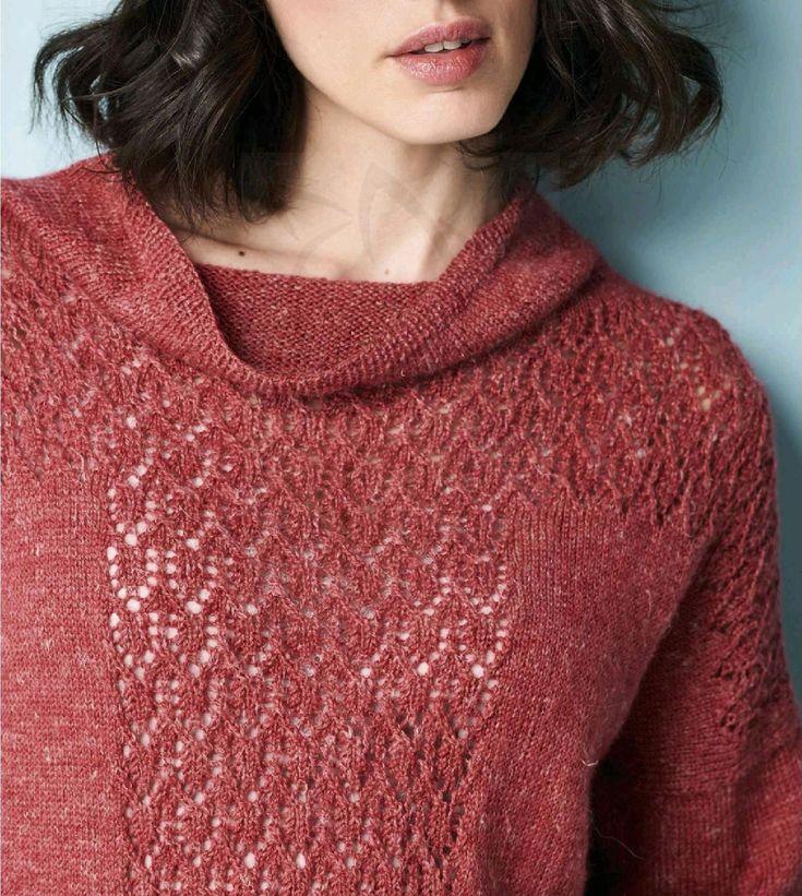 Вязаный спицами пуловер Red Clover