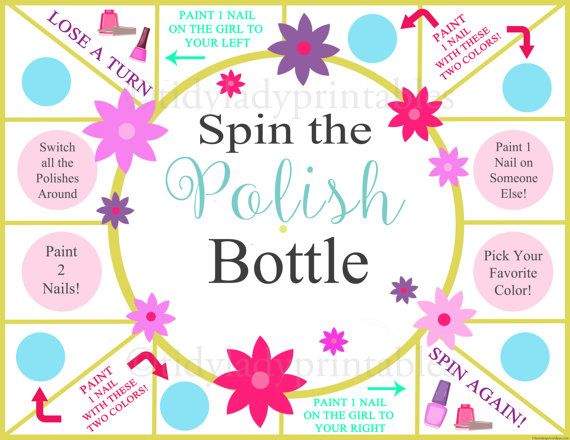 This fun and interactive sleepover game will sure to be a hit at your next sleepover party! This spin the nail polish bottle printable nail painting game is perfect for spa themed sleepovers or beauty themed sleepovers. It could also be a great game for and every day slumber party – no fancy theme needed!  Upon purchase you will receive one printable spin the nail polish bottle game board along with a seperate file that includes the nail painting game arrow piece as well as all instructions…