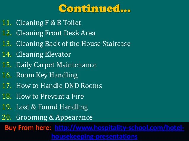 150 hotel housekeeping power point presentation | English