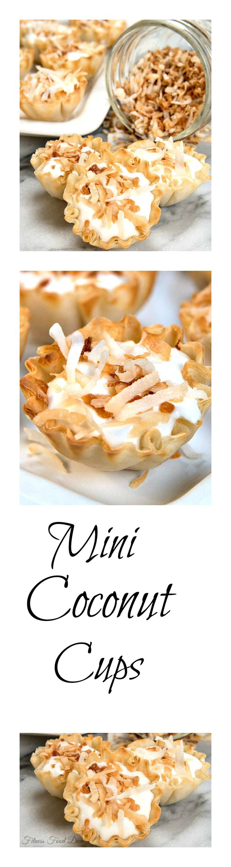 """MINI COCONUT CUPS are about the cutest little desserts ever. They are so light and creamy with a touch of crunch from the lightly toasted coconut on top. Mini Coconut Cups are so yummy you will go """"coco-nuts!"""""""