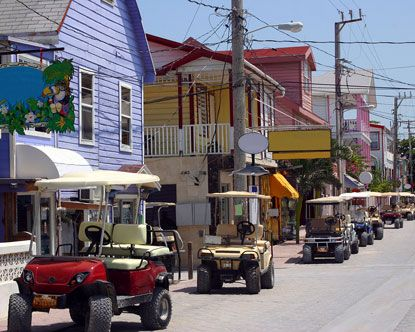 San Pedro Belize where the streets are lined with golf carts.