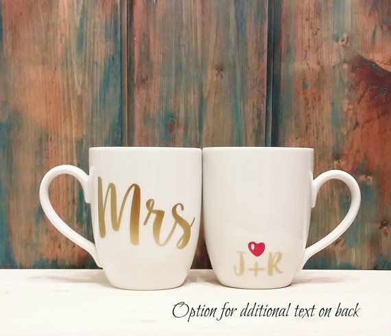 Mr and Mrs coffee mugs his and hers mugs 2 by TravelingTreeDesign