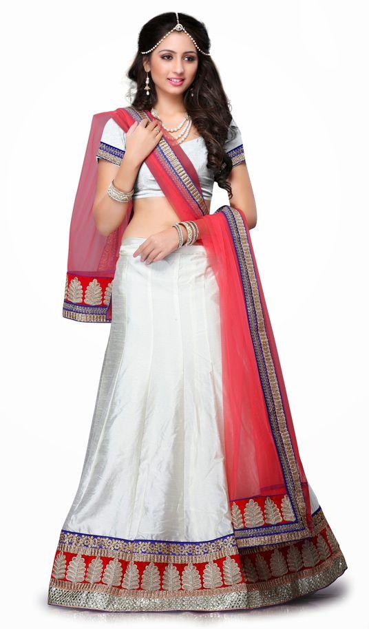 USD 55.98 Off White Art Silk Wedding Lehenga Choli 55998