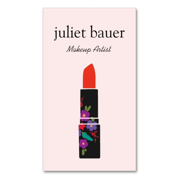 Pink Makeup Artist Floral Lipstick Logo Beauty Double-Sided Standard Business Cards (Pack Of 100). Make your own business card with this great design. All you need is to add your info to this template. Click the image to try it out!