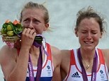 Fighting back the tears: GB Lightweight double sculls winners Katherine Copeland and Sophie Hoskins let it all out