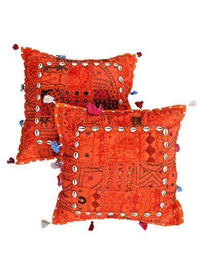 tnico-Cubre-Cojines-Home-Decor-Naranja-Cotton-Patch-Work