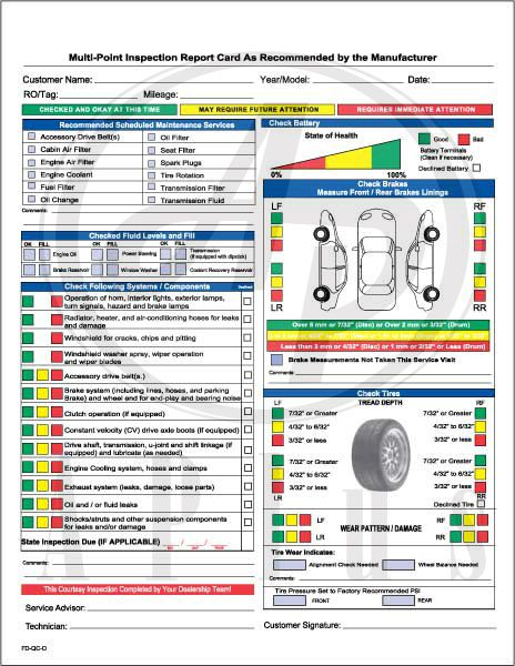Ford Multi Point Inspection Report Card Pdf 6 Car Check List