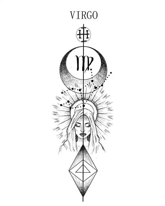 Zodiac design _VIRGO ._Etiqueta a un Vir | Diseños Virgo Sign Tattoo, Horoscope Tattoos, Zodiac Sign Tattoos, Small Chest Tattoos, Small Finger Tattoos, La Familia Tattoo, Virgo And Sagittarius, Virgo Symbol, Jaguar Tattoo
