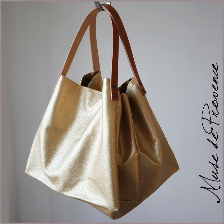 Sac cabas en simili cuir doré GLAM | Muse de Provence