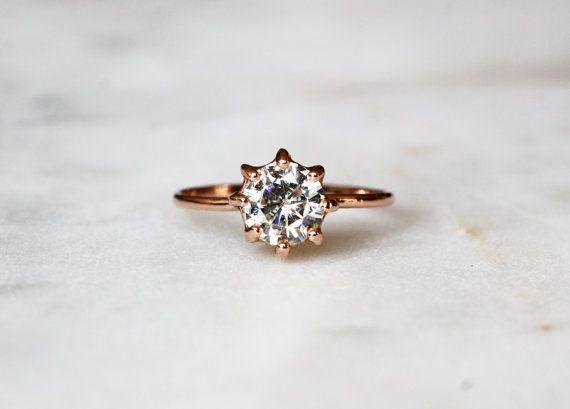 14 k solide, mariage, bague de fiançailles Solitaire rond et Engagement, Moissanite pour toujours brillant Or Rose