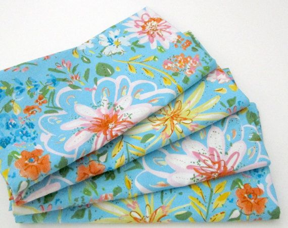 large cloth napkins set of 4 wild flowers floral by
