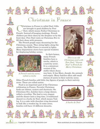 Worksheets: Christmas in France