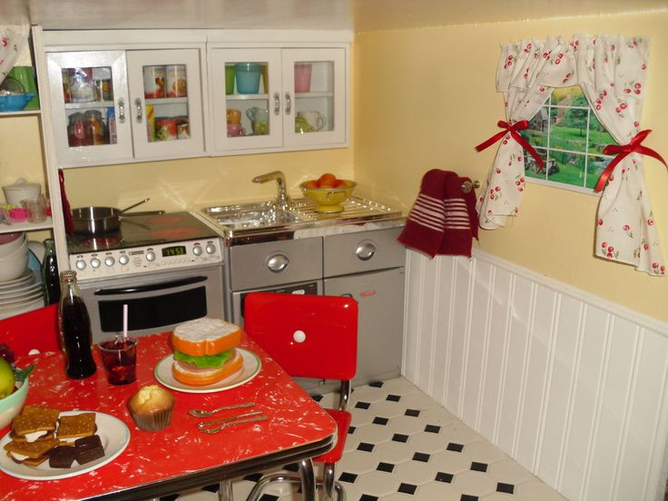 American Girl doll DIY kitchen and other rooms. She tells you what she used and where to buy it!