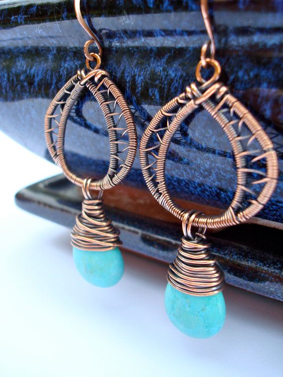 Turquoise and woven copper drop earrings