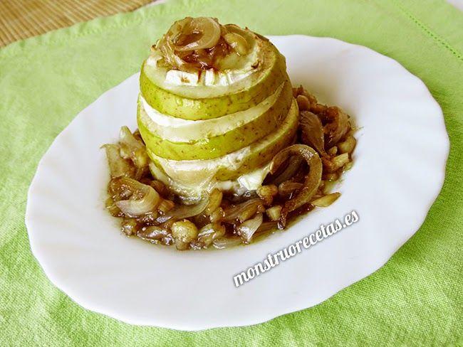 Aperitivo de manzana y queso de cabra con cebolla caramelizada - http://www.monstruorecetas.es/2014/07/aperitivo-de-manzana-y-queso-de-cabra.html