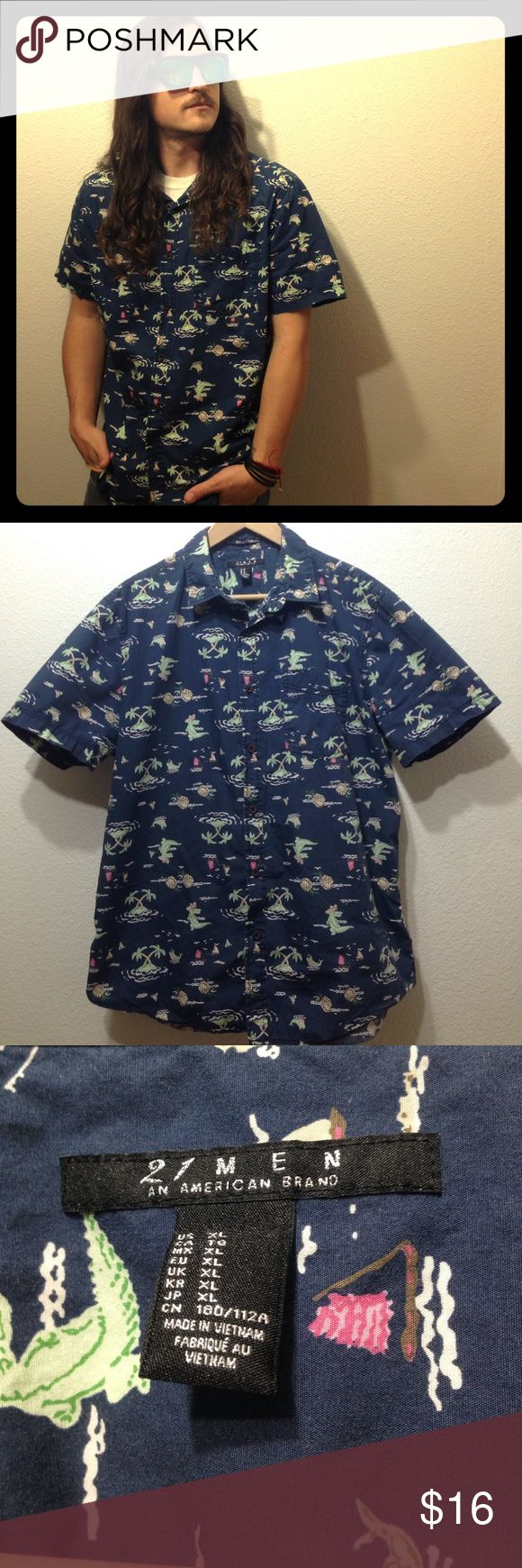 21Men Hawaiian Pineapple Alligator Palms Buttonup Preowned Size XL 💯 Cotton 21men Shirts Casual Button Down Shirts