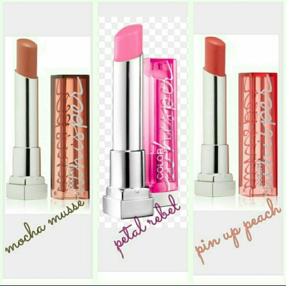 3 MAYBELLINE COLOR WHISPER All new and in colors shown in pic. Makeup Lipstick