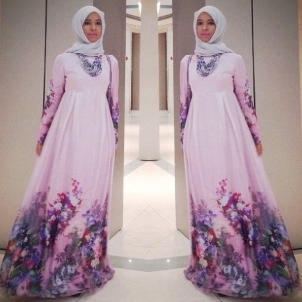 This perfect lavender gown with floral detailing is lovely for spring and summer