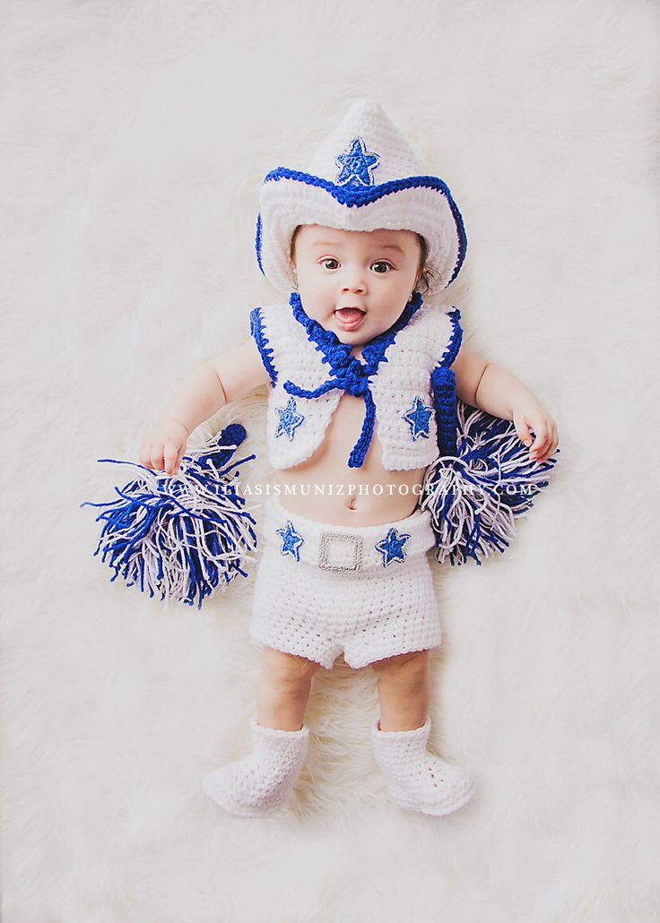 Baby Dallas Cowboys Cheerleader Outfit with Pom Poms by TwinkleStarPhotoProp on Etsy https://www.etsy.com/listing/162385961/baby-dallas-cowboys-cheerleader-outfit