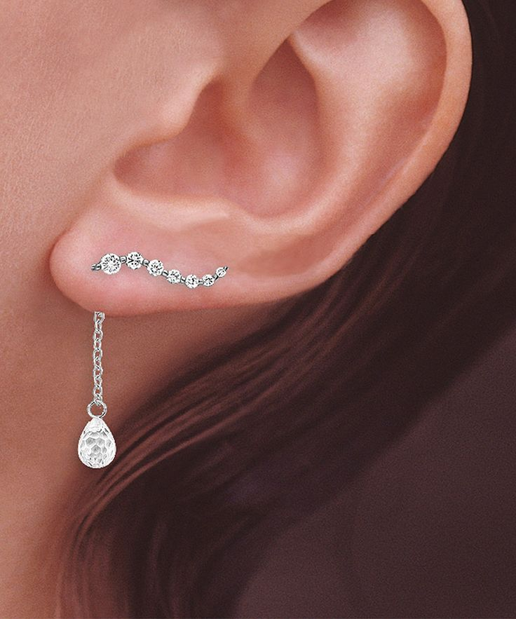 Crystal & Sterling Silver Journey Ear Pin Enhancer Earrings | Daily deals for moms, babies and kids