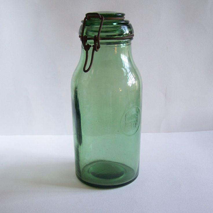 Bocal en verre pot en verre DURFOR gravé vintage  1.5 litres Made in France de la boutique MyFrenchIdeedAntique sur Etsy