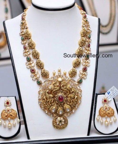 Layered Antique Gold Peacock Nakshi Haram photo