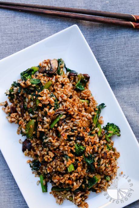 Vegan crispy garlic fried rice