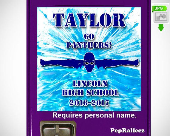 School Locker Sign Decorations, Personalized Swim Locker Sign Decoration, PepRalleez  This dynamic graphic marks the school year and makes a perfect…