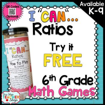 This FREE I CAN Math Game focuses on Ratios and Unit Rate in 6th Grade! ALL I Can Math Games can be used for independent practice, a small group activity, a whole group review, or for progress monitoring. The possibilities are endless! If you like this FREE sample, check out my I CAN Math Games BUNDLE!!! {CLICK HERE} This FREE Game Includes.... 2 different size can covers (includes directions for...