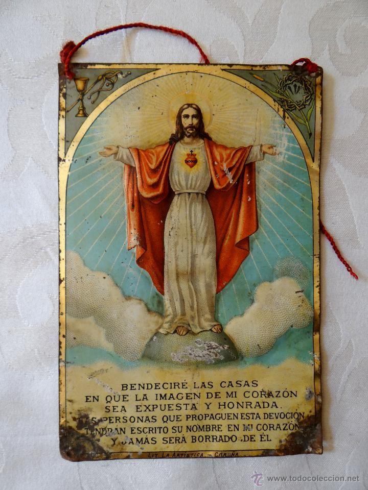 antigua placa o chapa del Sagrado orazón de Jesús, litografiada en La coruña.