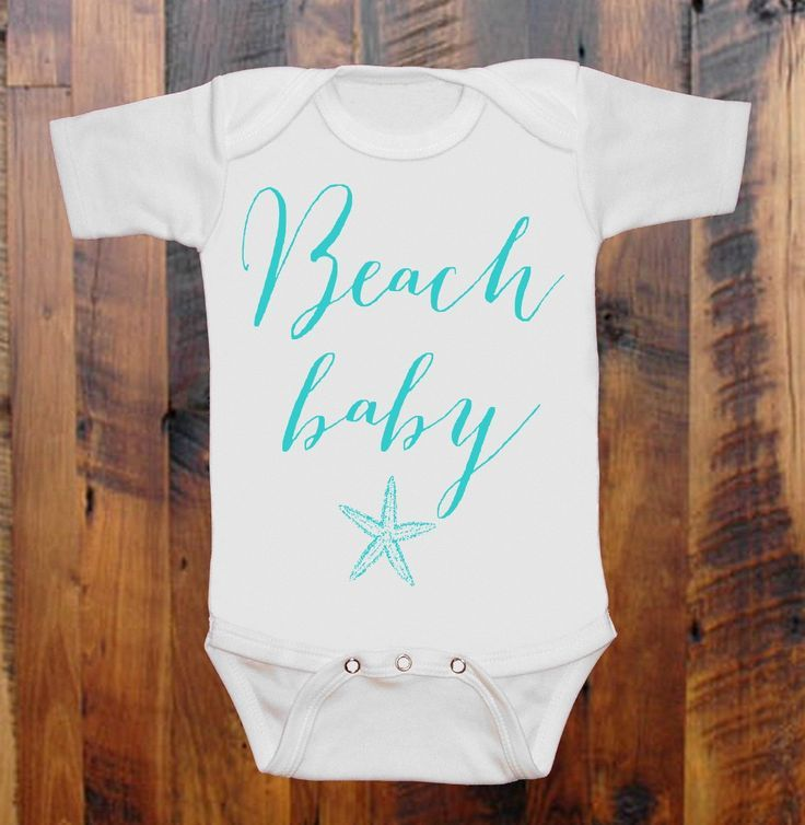 Baby+Clothes+BEACH+Baby+White+with+AQUA+ink+baby+by+BayBeeThreadz,+$15.00
