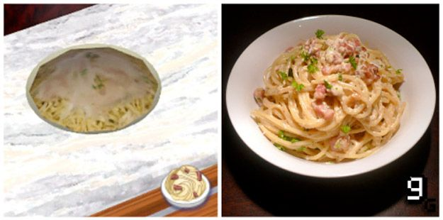 The Sims Goopy Carbonara | 21 Mouthwatering Video Game Foods In Real Life