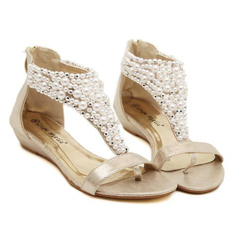 Rome Beading and Flip-Flop Design Women's SandalsSandals | RoseGal.com
