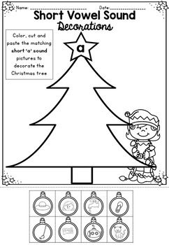 Short vowel sound decorations worksheet activity Kindergarten Christmas Math & Literacy Packet... by Markers and Mochas | Teachers Pay Teachers