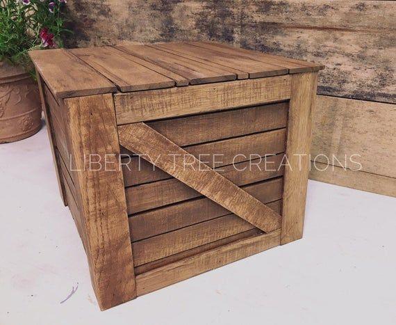 Rustikale Holz Box Farm Kiste mit Deckel für Lagerung, Bauernhaus Dekor, Veranda De …  – Products