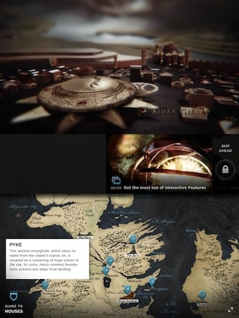"""For the second season premiere of """"Game of Thrones"""", HBO released an interactive viewing featured for its iPad app and the online service HBO GO, which launched on April 1, 2012."""