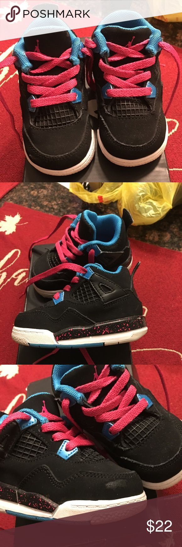Baby/Toddler Jordan's Practically brand new. Only worn a few times. Great condition other than a small scrape as shown in pic. Offers are welcome Jordan Shoes Sneakers