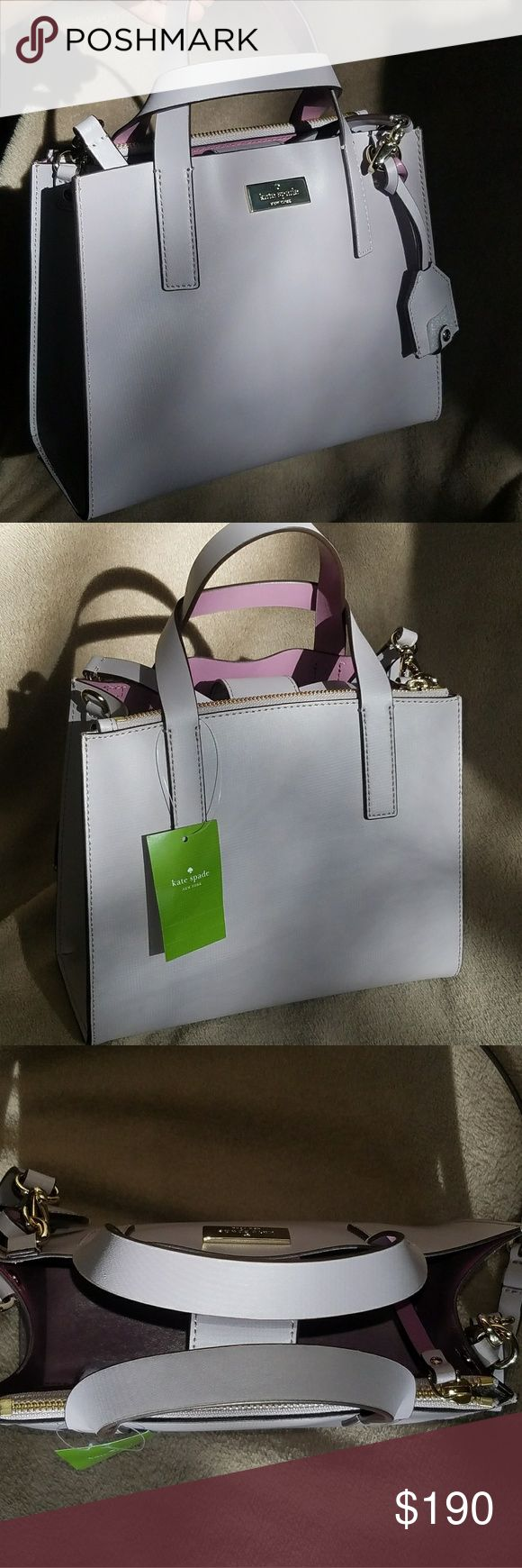 Kate Spade small Anissa bag NWT Kate Spade two-tone small Anissa bag, THE ABSOLUTE CUTEST. This bag features a really soft lavender color on the outside with a really smooth violet color on the inside. This bag has an open middle that shuts close with a strap and a compartment that zips as well. Also can be used as a crossbody. Make an offer  (: kate spade Bags Crossbody Bags