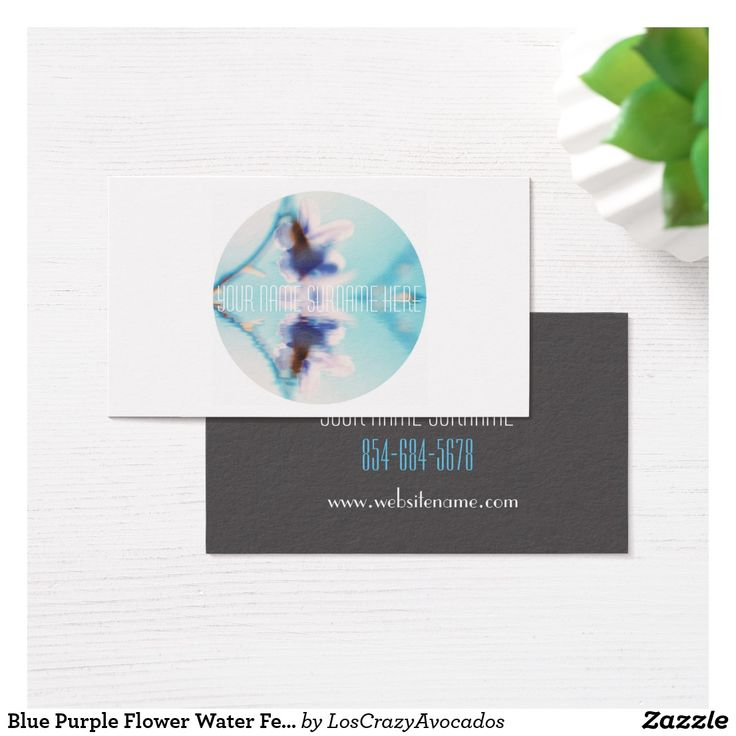 Blue Purple Flower Water Feel Business Card