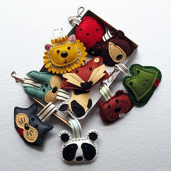 Fun handmade felt animal bag charms or Key ring by TheBigForest, £8.00