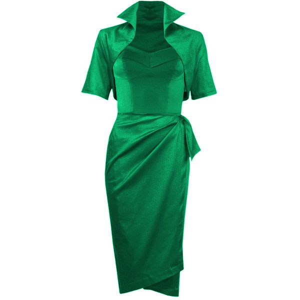 50s Emerald Sarong Dress Ensemble (5 015 UAH) ❤ liked on Polyvore featuring dresses, halter strap dress, emerald green cocktail dress, corset style dress, green cocktail dress and emerald dress